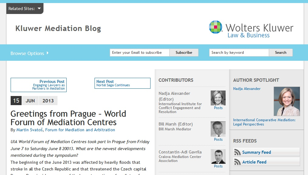 Kluwer Blog Mediation