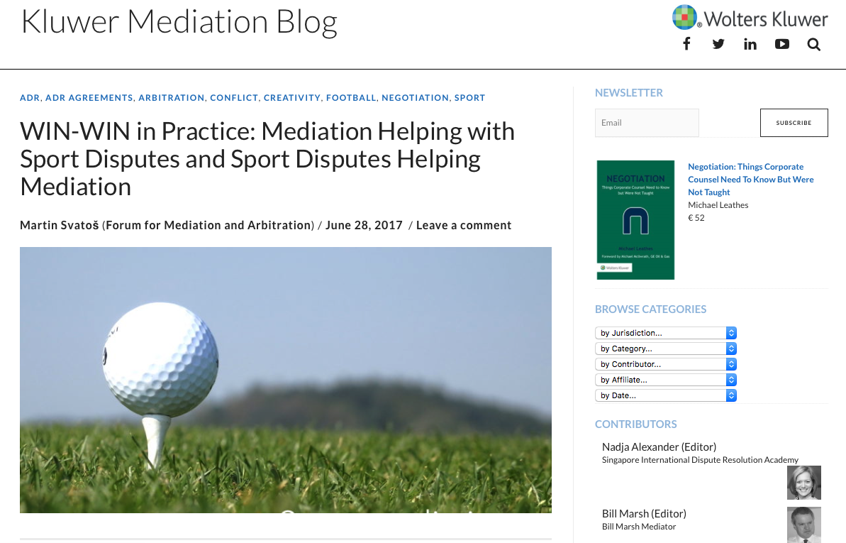 Mediation Blog Sport Disputes